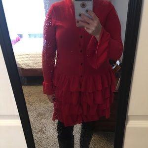 Red cardigan tunic